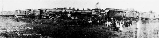 Wreck of No. 14 & 37. October 20, 1920, Rural Retreat, Virginia. Note open boxcar door on right of photo. There is a milk can there that wasn't even overturned during the wreck.