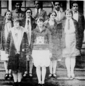 The Graduating class of Willis Agricultural High School in 1928. Frank Hylton is 1st on left, back row.