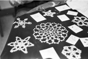 Some of the beautiful tatting work displayed by Sarah Harrell and Rhonda Bandy of Salem, Virginia.