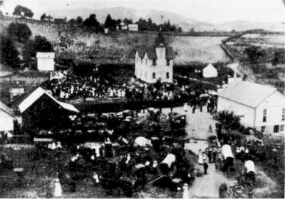 A Fourth of July gathering in downtown Sylvatus, Virginia, circa 1907.