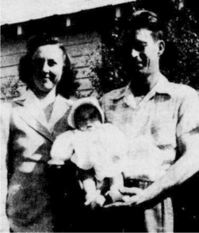 Photo was taken in 1945, just before Daddy had to go into World War II. Baby is Susan M. Thigpen.