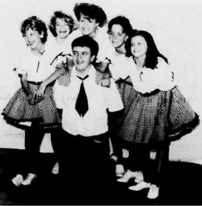 The younger members of the High Mountain Steppers clogging team. Front: Dereck Galyean; Back: Janna Douglas, Brandi Gaylean, Toni Haynes, Cindy Southerland, Julie Edwards.