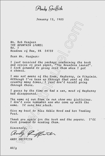 Andy Griffith letter dated January 13, 1985