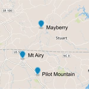Mayberry, Mt Airy and Pilot Mountain