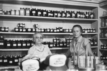 Miss Addie Wood and Peggy Barkley at Mayberry Trading Post.