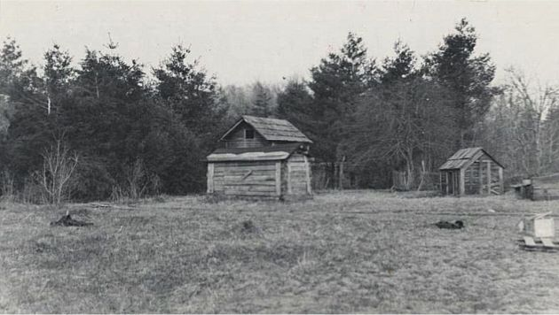 Image of two structures in the Mabry Mill area near milepost 176.5, section 1T of the Blue Ridge Parkway. Image taken from the National Park Service, Blue Ridge Parkway Headquarters. Photographed by Kenneth McCarter in 1941.