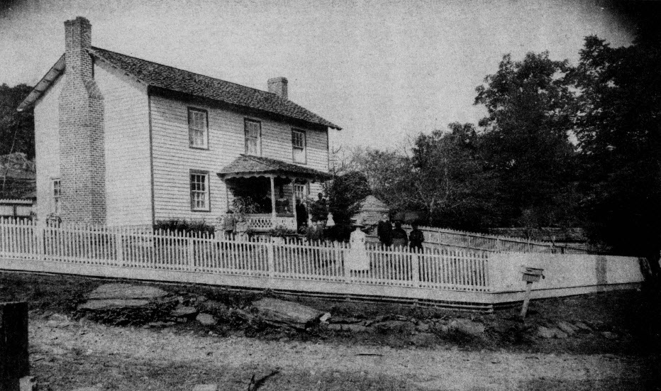 1905 newlyweds entering their new home for the first time. Trees in right foreground are native American chestnut.