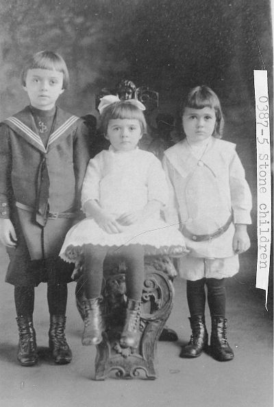 [0387-5] William H. Stone, Jr. (7 years old), twins Marguarite and Olin Drewry Stone (5 years old).