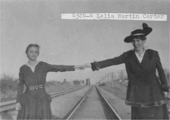 [4504-4] We are on the Sante Fe R.R. tracks. Unknown, Lelia Carter (right).